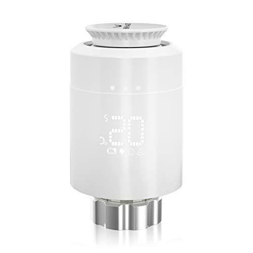 Smartes Heizkörper-HOSMART Thermostat Kit Intelligente Heizungssteuerung, Einfach selbst zu installieren,Arbeiten Sie mit Alexa und Google Assistant zusammen(1 Heizkörper-Thermostat)