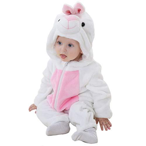 YOUJIAA Bébé Filles Garçons Barboteuse en Flanelle Costume Animale Manche Longue Chaud à Capuche Combinaison (Blanc Lapin, 80)