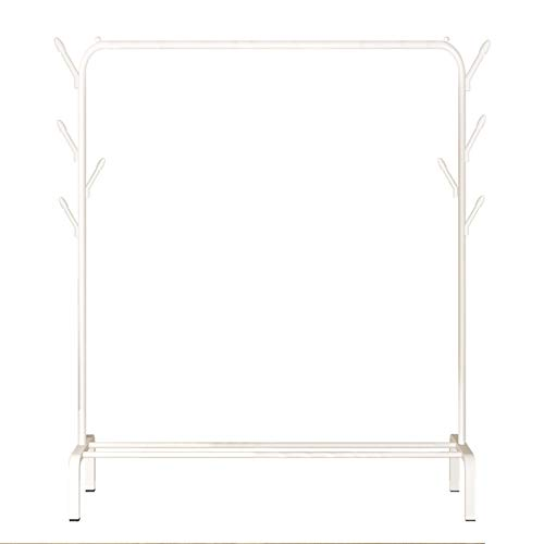 YAYI Trockengestell Metall Kleiderständer Freistehender Kleiderbügel Schlafzimmer Kleiderständer mit unterem Lagerregal für Boxen Schuhe und Seitenhaken,Weiß