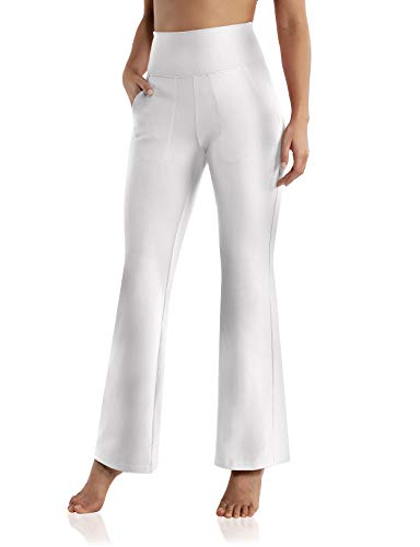 ODODOS High Waisted Bootcut Pockets Yoga Pants Workout Pants for Women Bootleg Work Pants Dress Pants, White, Large