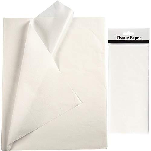 YooKreativ Seidenpapier Weiß, Blatt 50x70 cm. 10 Blätter, Transparentes Seidenpapier zum Basteln und zur Dekoration