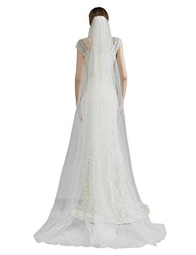 Belle House Light Ivory Tulle Sheer Wedding Bridal Veils Chapel for Bride