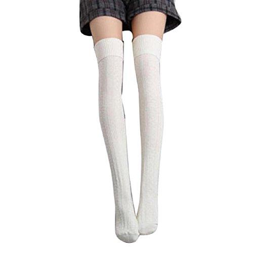 Malloom® Les Femmes Fille Hiver Sur La Jambe Du Genou Plus Chaud Tricot Doux Crochet Chaussette Legging (Blanc)