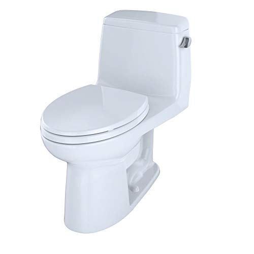 Toto MS854114ELR#01 Eco UltraMax Elongated 1.28GPF One-piece Toilet with Right Hand Trip Lever, Cotton