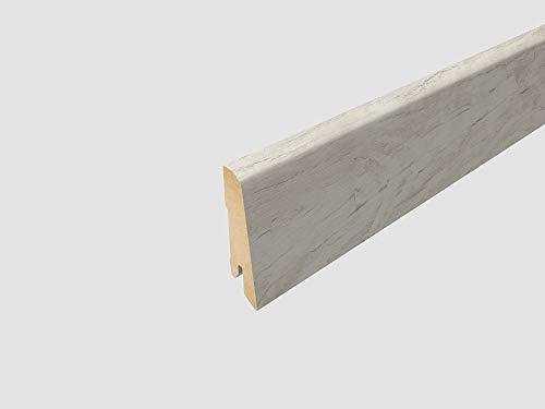 EGGER Home Sockelleiste weiß L204 Fußleiste   Bodenleiste 2,4m passt zu EHL017 Cascina Pinie, EHC008 Villefort Pinie weiss