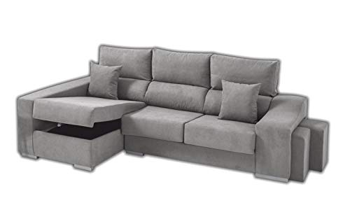 Sofa Cheap Chaise Longue Izquierdo 5 Plazas | Arcón Abatible + 2 Puffs | Respaldos Reclinables Ergonómicos | Gris Argenta (Envío y Subida a Domicilio Incluidos)