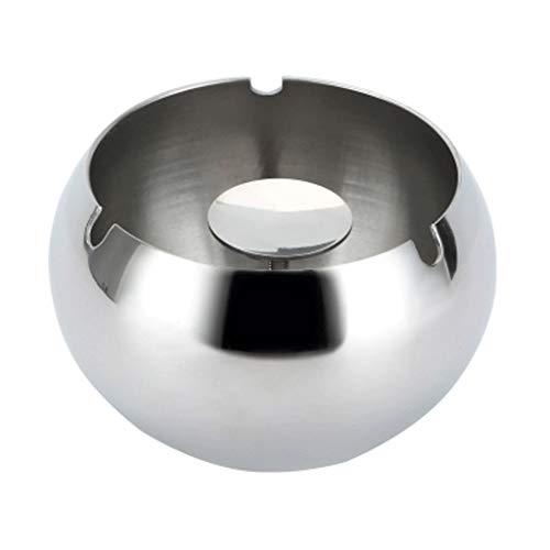 WPBOY Cenicero de acero inoxidable, resistente al viento y a las caídas, dorado/gris/plata, cenicero grande para decoración de mesa de hogar u oficina (color: plata, tamaño: mediano)