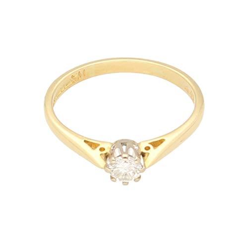 Anello da donna in oro giallo 18 kt con diamante solitario rotondo 0,20 ct (misura O 1/2) 4 mm | Anello da donna di lusso