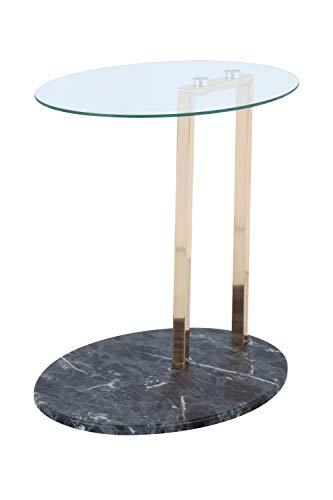 BuyDream Mesa Auxiliar en Elegante diseño Ulius 275 Transparente/Dorado/Negro, Elegante Mezcla de Materiales, 45.7cm (L/D) x 35.5cm (W) x 49cm (H)