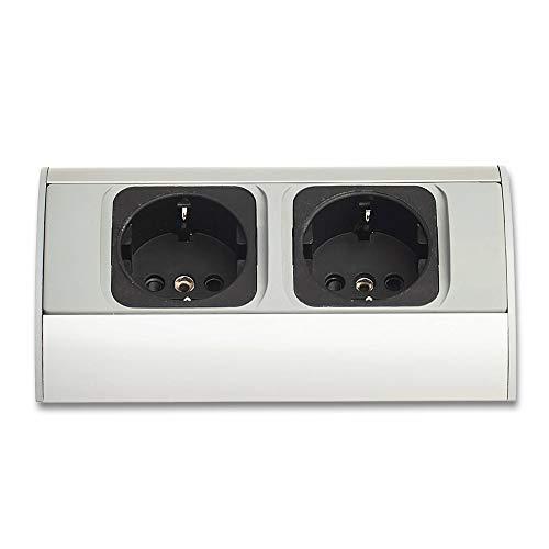 2 enchufes Schuko para muebles de cocina y oficina, montaje vertical y horizontal, regleta de enchufes, enchufe de cocina, color plateado y gris