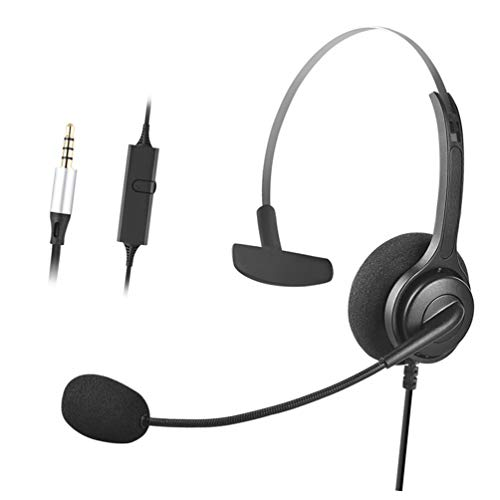 Wired 3.5mm Mono Cell Phone Headset Headphone with Microphone for iPhone HTC Huawei LG BlackBerry HTC Computer PC Laptop Mac (M02-AA)