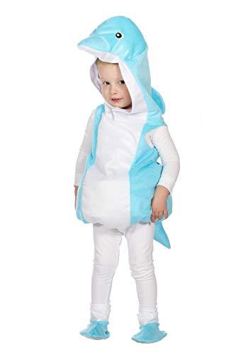 narrenkiste W99353-86 - Disfraz infantil de delfn (talla 86), color turquesa y blanco