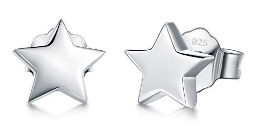 925 Sterling Silver Stud Earrings, BoRuo Star Stud Earrings