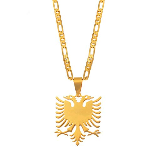 ACEHE Albanian Eagle Pendant Necklace Stainless Steel Jewelry Sweater Clavicle Chain Creative Pendant Necklace