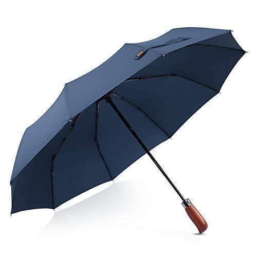 DORRISO Moda Hombres Automático Paraguas Plegable Madera-Mango Compacto Paraguas Antiviento Impermeable Viajar...