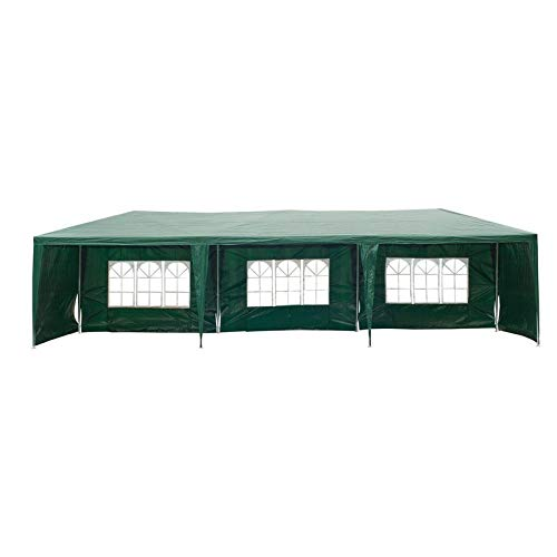 Outdoor Furniture Standard Design 9m W x 3m D Party Tent Gazebo with Side Wall Included (Color: Green)