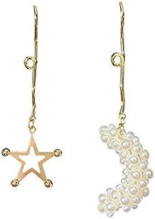 Home-based Silver Needle Genius Moon Earrings Asymmetric Pearl Ear Pendant Fashion Retentive Section Ear Ornaments (Color ...