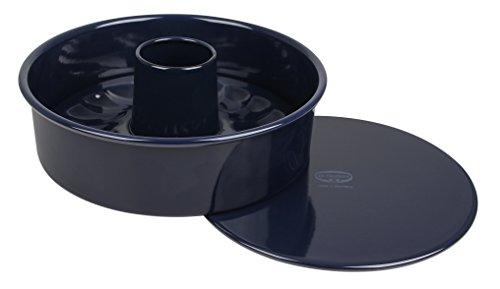 Dr. Oetker Garantieform mit Flach- und Rohrboden Ø 26 cm BACK-LIEBE EMAILLE, runde Backform mit schnitt- & kratzfester Emaille-Versiegelung, Kuchenform mit 2 Böden (Farbe: Blau), Menge: 1 Stück