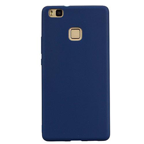 cuzz Funda para Huawei P9 Lite+{Protector de Pantalla de Vidrio Templado} Carcasa Silicona Suave Gel Rasguño y Resistente Teléfono Móvil Cover-Azul Oscuro
