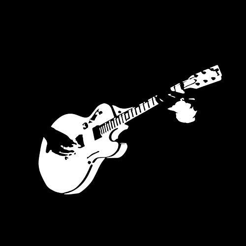 ZQZL Car Stickers 14.5CM * 10.2CM Musical Instrument Guitar Music Rock Decal Vinyl Black/Silver Car Sticker