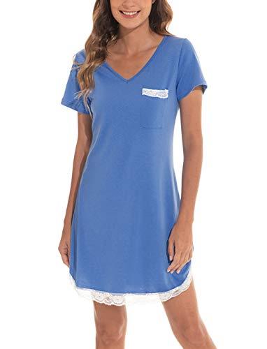 Voqeen Camisón para Mujeres Ropa de Dormir de Camisón Camiseta de Manga Corta Camisón Mujer Verano Algodón Pijama Casual Comodo y Elegante Ropa de Dormir para Mujer (Cielo Azul , XL)