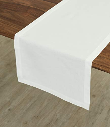 Solino Home Dru Cotton Linen Table Runner 14 x 72 Inch White Table Runner Natural Fabric Machine product image