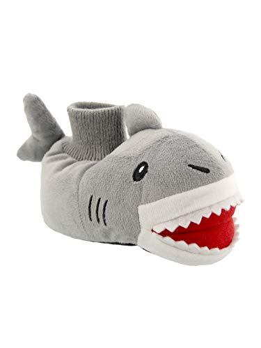 Yankee Toy Box Plush Shark Fish Toddler Boys Girls Sock Top Slippers (7-8 M US Toddler Shark Grey)
