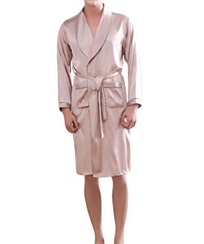 Bata De Baño Hombre Bata De Baño Bata De Baño Cómodo Hombre Hombre Bata De Seda Pañuelo De Seda Y Verano Toga De Pijama (Color : Beige, Size : L)