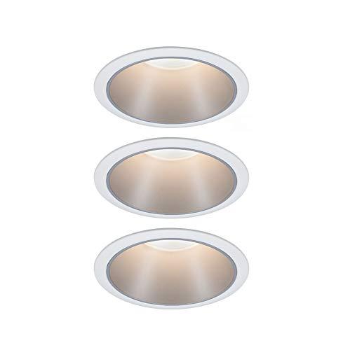 Paulmann 93410 LED Einbauleuchte Cole rund incl. 3x6,5 Watt dimmbar Einbaustrahler Weiß, Silber Einbaulampe Kunststoff, Alu Zink Deckenspot 2700 K, 19.5 W, 3er-Set