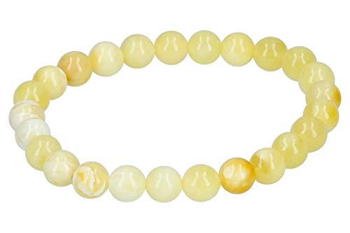 Pulsera de Bolas de Cristal 1001, 8 mm/19 cm, elástica, ámbar Amarillo
