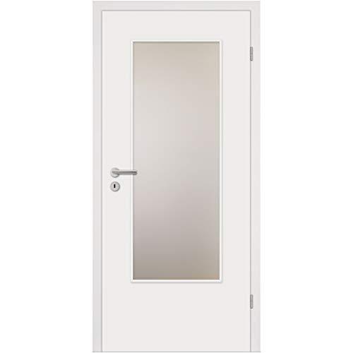 HORI® Zimmertür Komplettset mit Zarge und Türdrücker I Innentür weiß lackiert I Höhe 198,5 cm I 735 mm I DIN Rechts I Wandstärke: 80 mm (78-97 mm) mm