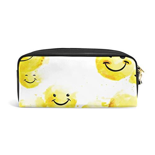 Estudiante estuche para lápices, bolsa de almacenamiento, bolsa de papelería, bolsa de maquillaje, bolsa de regalo para la oficina, suministros escolares para colegio, niña adulta, emoticonos felices