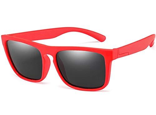 WSXEDC Gafas De Sol,Gafas De Sol Polarizadas para Niños Gafas De Sol Negras Lente Silicona Infantil Seguridad Flexible Rojo Gafas De Sol con Montura Cuadrada Protección UV 400