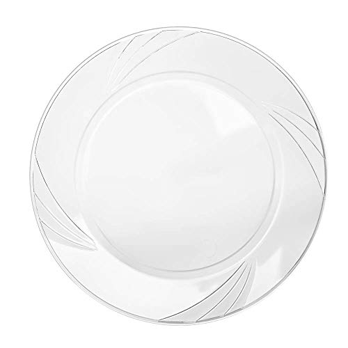 Disposable Clear Plastic Plates – 100 Pack - 9' Round Dinner - Premium Quality Hard and Elegant Party Goods - For Parties and Everyday Use - Aya's Cutlery Kingdom (1, 100 Pack of 9' Round)…