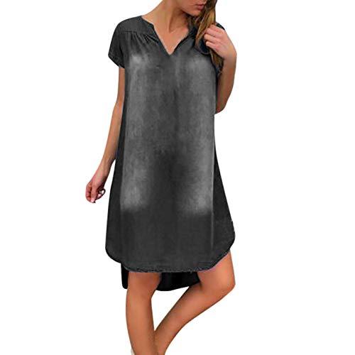 Vestido de Mujer Moda Suelto de Gran tamaño Dobladillo Grande Vestido Plisado de Mezclilla sólido Europeo y Americano Small
