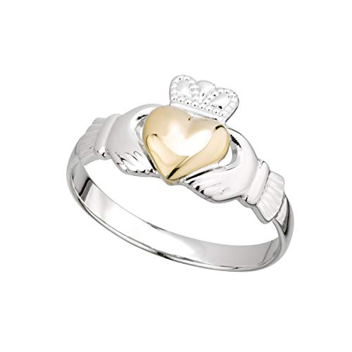 Irish Claddagh Ring Made in Ireland Sterling Silver and 10K Gold Heart 3/8' Wide Made in Co. Dublin, Ireland by Maker-Partner Solvar Sz 7