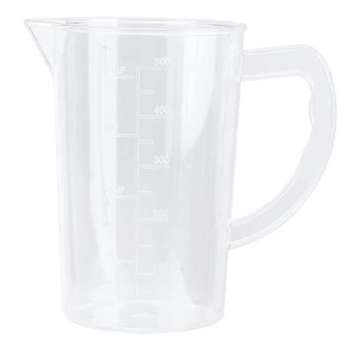 Heaveant Taza medidora, Taza medidora acrílica, Jarra Transparente con Pantalla de Escala Transparente con asa para la Barra de café de la Cocina del hogar(500ML)