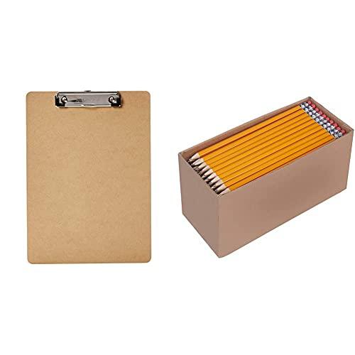 Amazon Basics Hardboard Office Clipboard - 30-Pack & Woodcased #2 Pencils, Pre-sharpened, HB Lead - Box of 150, Bulk Box