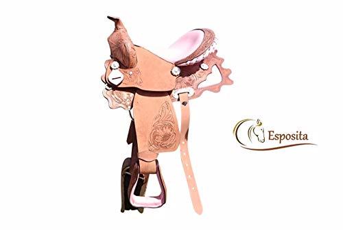 """Esposita Westernsattel Princess für Pony und Shetty echtes Leder mit Rosa 12\"""""""