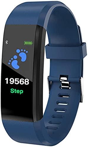 AMBM ConnectFit 115 Plus Bluetooth Smart Watch Monitor de ritmo cardíaco, pulsera de fitness IP65 impermeable (color: negro)-azul oscuro