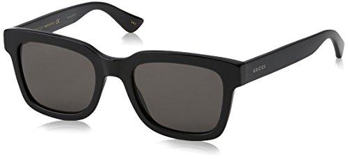Gucci Herren GG0001S 001 Sonnenbrille, Schwarz (Black/Smoke), 52