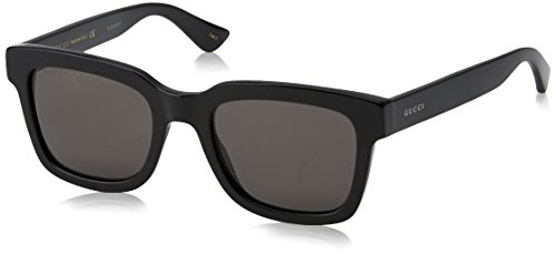 Gucci Heren GG0001S 001 Zonnebril, Zwart (Black/Smoke), 52