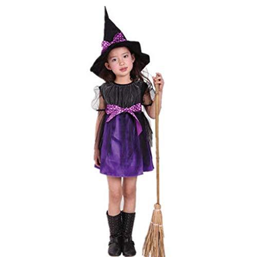 LQH Vestido de la Manga del Traje de Cosplay de la Muchacha del niño de la Bruja de los niños a Corto con la Cinta del Lunar del Sombrero señaló for la Fiesta de Halloween Props Fairytale púrpura