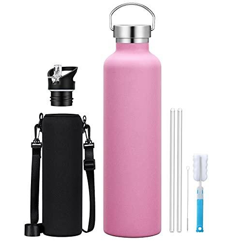 Borraccia Termica 1L, Bottiglia Acqua in Acciaio Inox Isolamento Senza Anti-Condensazione Freddo 28 Ore & Caldo 14 Ore, 2 Cappuccio Intercambiabili, per Scuola, Sport, Campeggio, Palestra, Rosa