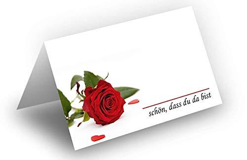 25 tafelkaarten/rode rozen met hartjes/UV-lak glanzend/voor kerst/oudejaar/bruiloft/verjaardag/jubileum/als tafeldecoratie/formaat/8,5 x 11,2 cm/850 mm x 1120 mm
