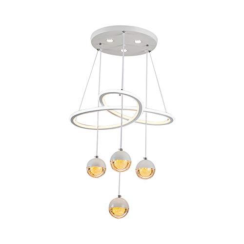 Lampe suspension LED moderne pour salle à manger, salle à manger, table à manger, lustre, salon, éclairage rond, éclairage de chambre à coucher, appartement, blanc chaud et blanc Ø 56 cm