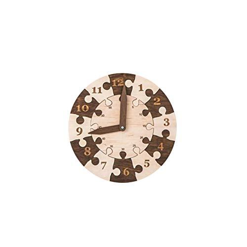 HuiBOYS Uhr Holzpuzzle Spielzeug, Lernen Lehren Kleinkinder Lernuhr Holz Puzzle Spielzeug Geschenk Geburtstagsgeschenk 25x25cm