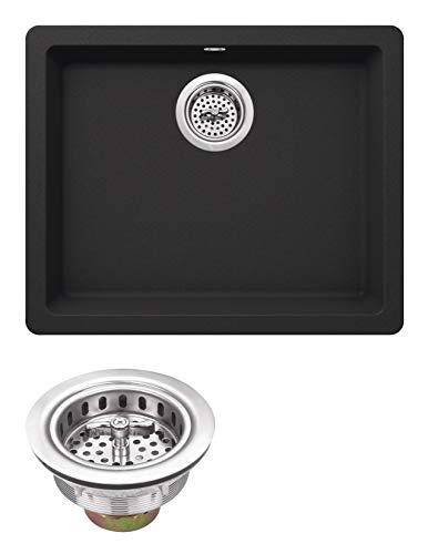 Soleil SSGR2217-BLK Quartz 21.65-in x 16.92-in Quartz Single Bowl Undermount Kitchen Sink in Onyx Black