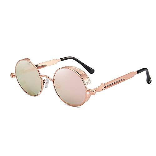 AMFG Gafas de sol retro de marco redondo para hombres y mujeres Steampunk Gafas de sol (Color : D)