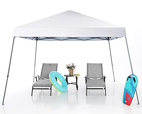 MasterCanopy Pavillon mit abgeschrägten Beinen Instant Outdoor Baldachin Einfache Einrichtung Faltschutz,Weiß